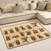 ALAZA Super Comfortable Anti-slip Character Cartoon Monkey Emoticons Area Rugs/Floor Mat/Cover Carpets with Small Amount of Memory Foam for Living Room/bedroom/Dining/Kids/Home Decorate 0.9m x 0.6m