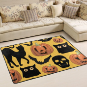 ALAZA Super Comfortable Anti-slip Halloween Pumpkins Cats Bats Skulls Area Rugs/Floor Mat/Cover Carpets with Small Amount of Memory Foam for Living Room/bedroom/Dining/Kids/Home Decorate 0.9m x 0.6m