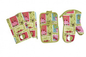 Spring Design 5 Piece Kitchen Linen Set Towels, Pot Holders & Oven Mit