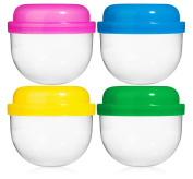 50 Vending Machine Capsules 5.1cm , Empty Acorn Cases for Gumball Containers, Toy Stands, and Party Favours, Bright Coloured Lids and Clear Bottoms
