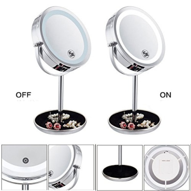 Ohcde Dheark 18cm 5X Magnifying Mirror Brightness Adjustable Touch Screen Makeup Mirror With Storage Dish Dual 2 Sided Cosmetic Led Mirror