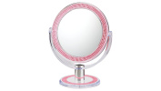 First Impressions Double-Sided Free Standing Magnified Makeup Bathroom Mirror - Pink Bling