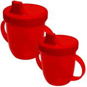 Sury Baby 2 Handled Childrens Kids Coloured Training Drinking Cup - Red 2 Bottles
