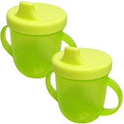 Sury Baby 2 Handled Childrens Kids Coloured Training Drinking Cup - Green 2 Bottles