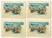 Street and Church in Winter-1 Printed Canvas Placemats Set of 4