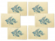Abtract Fish-2 Printed Canvas Table Mats Placemats 33cm x 48cm Set of 6