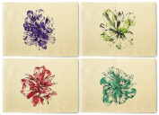 Hand Drawn Watercolour Flowers Printed Canvas Placemats Set of 4