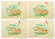 Rome Printed Canvas Table Mats Placemats 33cm x 48cm Set of 4