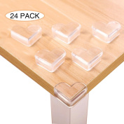 Kobwa 24pcs Clear Soft Baby Corner Protectors Guards, Baby Corner Covers for Table, Child Furniture Safety Bumpers, Baby Proofing Corner Protector with Double-sided Tape