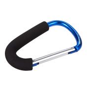 Set of 3 Stroller Hooks - Mommy Hooks, Aluminium Carabiner Stroller Clips for Baby Strollers, Black - 6.2 x 9.7cm x 1cm