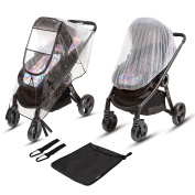 Ritmart Stroller Rain Cover - Universal Size Waterproof Weather Shield + Mosquito Net + Hook Set = Baby Gift Accessories