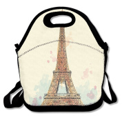Black Paris Architecture Eiffel Tower Lunch Bag For Man And Woman