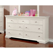 Furniture of America Gillis 7 Drawer Dresser in White