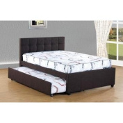 Best Quality Furniture K26 Bed W/ Trundle Dark Coffee Woven Fabric Upholstered W, Full