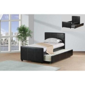 Best Quality Furniture K10 Bed W/ Trundle Black Faux Leather Upholstered w, Twin