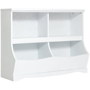 Best Choice Products Kids Bookcase Footboard Toy Storage- White