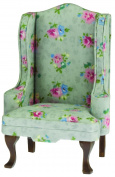 Classics by Handley Dollhouse Chair, Walnut with Grey Floral Fabric