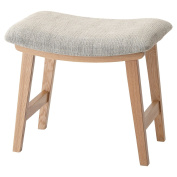 AZUMAYA Home Wooden Tropez Low Stool Textile Fabric Seat Beige Chair CL-790CBE