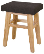 AZUMAYA Home Wooden Low Stool Textile Fabric Seat Brown Chair CL-785CBR