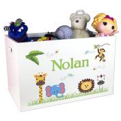 Boy's Personalised Jungle Animal Toy Box