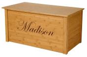 Wood Toy Box, Large Bamboo Toy Chest, Personalised Edwardian Font, Custom Options