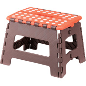 AZUMAYA 23cm Height Folding Step Stool Orange and Brown Size Small FKF-621OR