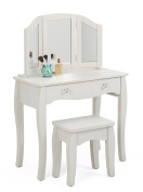 4D Concepts Lindsay Vanity Table with Stool in Stone White Oak
