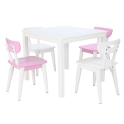Max & Lily White Wood Kid and Toddler Square Table + Modern Chairs