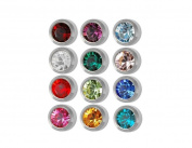 Caflon Ear Piercing Bezel Earrings Studs 3mm Assorted Colours White Metal 144 Pair