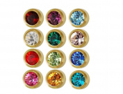 Caflon Ear Piercing Bezel Earrings Studs 3mm Assorted Colours Gold Plated 144 Pair