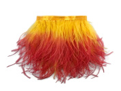 1 Yard Ostrich Feathers , 1 Yard - Fiery Red Ombre Ostrich Fringe Trim Wholesale Feather (Bulk) Mardi Gras, Costume, Carnival, Jewellery Making Feathers