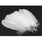 """Hofumix Natural Feather White Goose Feathers 4-6"""" Real Feathers for Wedding Party DIY Decor Arts and Crafts"""