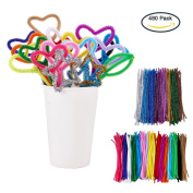 BENECREAT 480 PACK 24 Colours Pipe Cleaners Chenille Stem Christmas Tinsel Decoration DIY Chenille Stem Metallic Tinsel Garland Craft Wire, 7 mm x 12 Inch