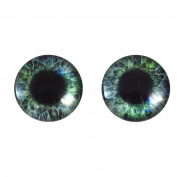 20mm Blue and Green Round Glass Eyes Fantasy Taxidermy Art Doll Making or Jewellery Crafts Set of 2