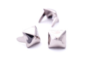 Pyramid Studs - Size 6 - Ideally used for Denim and Leather Work - Classic Two-Prong Studs - Silver Coloured - Pack of 100 studs and spikes
