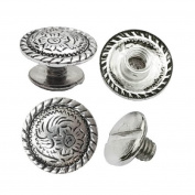 1.3cm Antiqued Silver Engraved Concho 0.6cm Chicago Screws Nickel 10 pc set