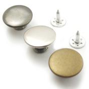 "Bluemoona 25 Set - Jean Tack 17mm 5/8"" Look Inside Fine Snap Button Stud Rivet NO-SEW"