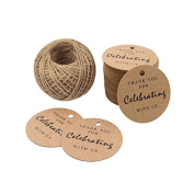 Paper Gift Tags,Thank You For Celebrating With Us,100 Pcs Kraft Tags 5.5cm For Wedding Party Favours,Gifts with 30m Natural Jute Twine