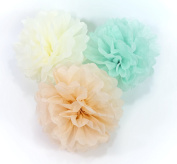 "ALL in ONE 8"" 10"" 14"" Tissue Paper Flowers Pom Poms for Wedding Party Holiday Decoration DIY Craft"