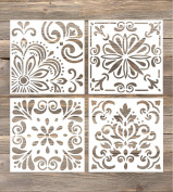 GSS Designs Pack of 4 Stencils Set (15cm x 15cm ) Laser Cut Painting Stencils -Reusable Template