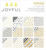 Joyful Gold Double-Sided Paper Pad 15cm x 15cm 24/Pkg-Joyful Gold, 12 Designs