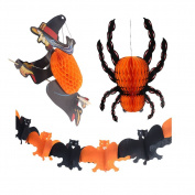 Three-dimensional Halloween Spooky Night Spider Witch Bat Tissue Paper Hanging Garland - Party Decoration Kit