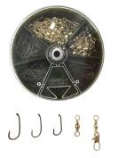 Baitholder Hooks with 2 Barbs,Baitholder Fishhook,Barrel Swivel and Safty Snap Fish Hook Tackle Lure Bait Set Kit