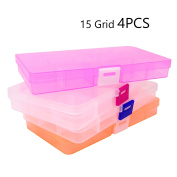 Honbay 15 Grid 4PCS Plastic Adjustable Jewellery Box Organiser Storage Container with Adjustable Dividers For Sorting Earrings, Rings, Beads and Other Mini Goods
