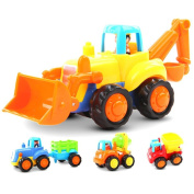 Friction Powered Cars Push and Go Car Construction Vehicles Toys Set of 4 Tractor,Bulldozer,Cement Mixer Truck,Dumper Push Back Cartoon Play for 1 . Old Boys Toddlers Kids Gift