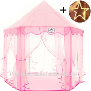 Princess Castle Tent With Large Star Lights String | Cute Pink, Durable Polyester Playhouse For Indoor & Outdoor Games | Stimulate Pretend & Imaginative Play, Have Fun, Encourage Social Interaction