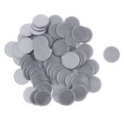 MagiDeal 25MM Plastic Casino Poker Chips Bingo Markers Token Fun Toy Gift Silver Pack of 100