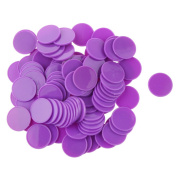 MagiDeal 25MM Plastic Casino Poker Chips Bingo Markers Token Kids Fun Toy Gift Purple Pack of 100