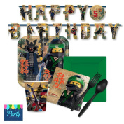 Lego Ninjago Party Supply Pack for 16 Guests - Plates, Napkins, Cups, Plasticware by Party Tableware Today