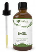 UpNature The Best Basil Essential Oil 120ml - 100% Pure Unrefined GMO Free Premium Quality - Fight A Migraine - With Dropper